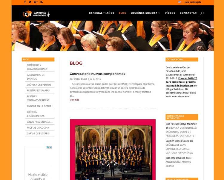 Páginas web para coros
